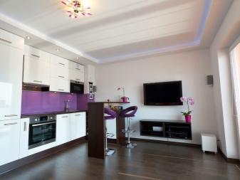 Потолок в кухне-гостиной (55 фото): совмещенная студия, современный стиль