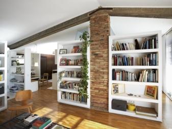 Шкафы-перегородки (36 фото): двусторонние модели для разделения комнаты на две части, варианты для зонирования студии