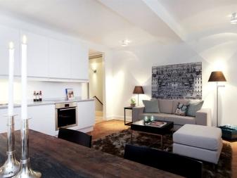 Дизайн однокомнатной квартиры: проект ремонт 1-комнатной квартиры площадью 33 кв. м, Интерьеры в современном стиле: подборка фото вариантов оформления интерьера, советы по выбору современных отделочных материалов.