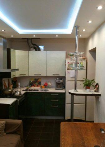 Двухуровневые потолки из гипсокартона для кухни (53 фото): двухуровневый потолок с подсветкой