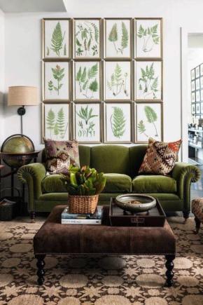 Фото дизайна зеленого дивана