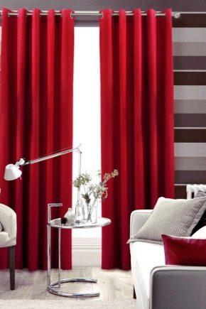 шторы красные на кухне