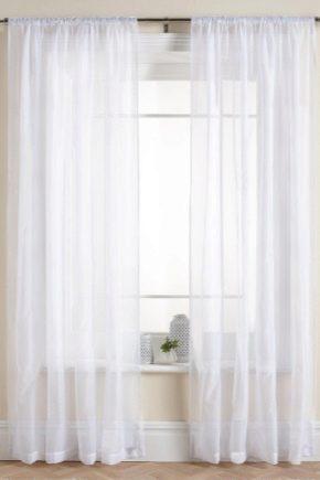 белая штора вуаль