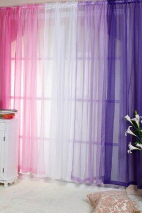 Шторы из вуали двух цветов фото с ламбрекеном