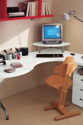 Компьютерные угловые столы с полками и ящиками
