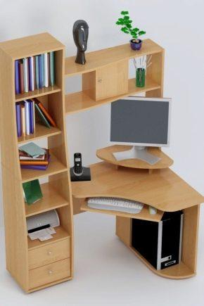Угловые компьютерные столы с надстройкой