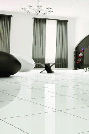 Белая напольная плитка в интерьере