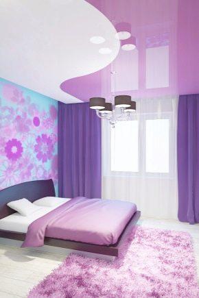 Двухцветные натяжные потолки: особенности дизайна и уход