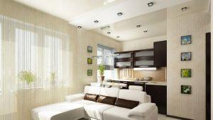 Двухуровневые натяжные потолки для кухни и гостиной