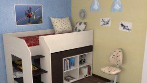 Детская кровать-чердак с рабочей зоной
