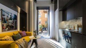 Дизайн студии площадью 29 кв. м. с балконом