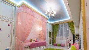 Натяжные потолки в детскую для девочки
