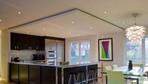 Навесной потолок из гипсокартона для зала и кухни