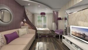 Дизайн спальни-гостиной 18 кв. м