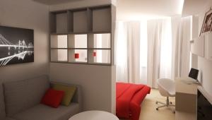 Дизайн спальни-гостиной 20 кв. м