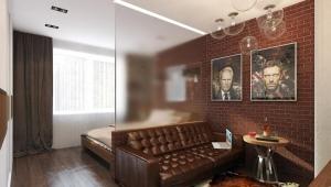 Дизайн спальни-гостиной 17 кв. м
