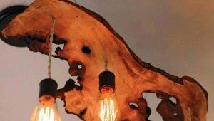 Деревянные люстры