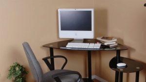 Угловые стеклянные компьютерные столы