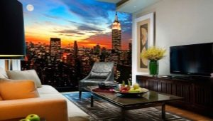 Фотообои в интерьере гостиной: красивые примеры оформления