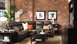 Кирпичная стена в дизайне интерьера гостиной