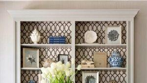 Полки в дизайне интерьера гостиной комнаты