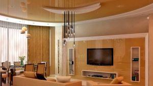 Потолки из гипсокартона для гостиной: современные варианты в интерьере