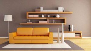 Современные модели навесных полок в гостиную