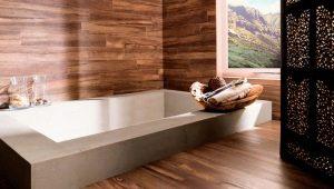 Деревянная плитка в дизайне интерьера