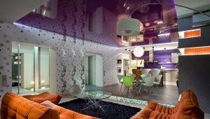 Натяжные потолки в интерьере: идеи оформления разных комнат