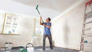 Как правильно побелить потолок и стены?