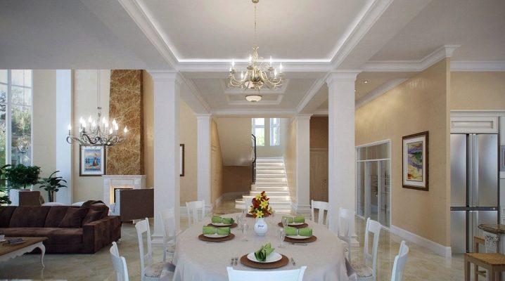Дизайн кухни в качестве столовой-гостиной в частном доме