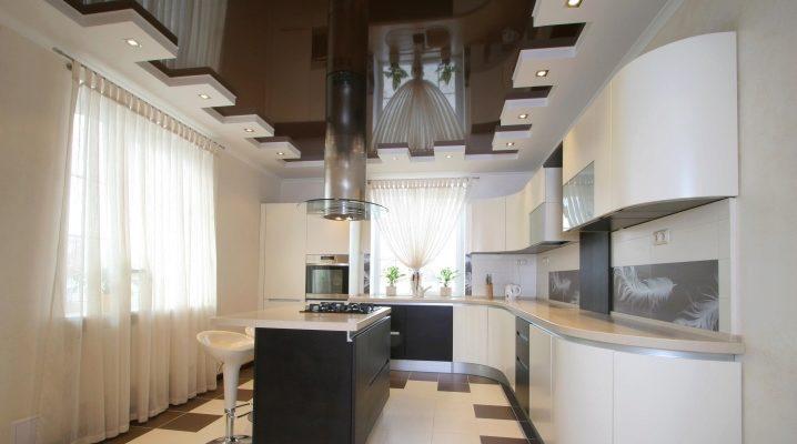 Дизайн натяжных потолков для кухни