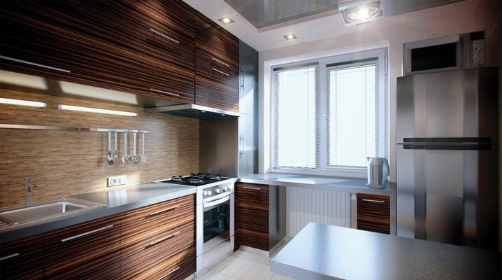 Маленькая кухня площадью 5 кв. м с холодильником