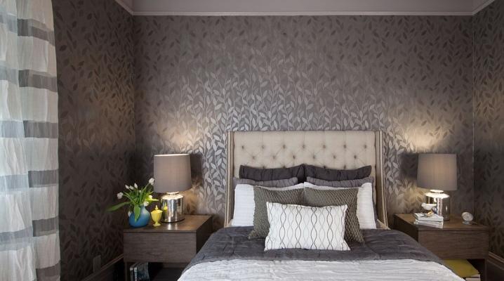 серые обои в спальне 43 фото дизайн интерьера с темно серыми