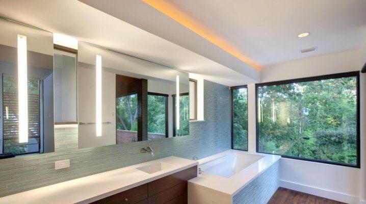 Светильники в ванную комнату на потолок (63 фото): потолочное освещение для натяжных потолков