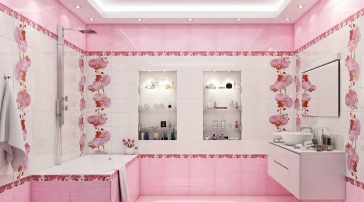 Розовая керамическая плитка: интересные варианты дизайна