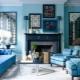 Особенности оформления гостиной в голубых тонах