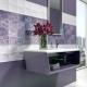 Дизайн ванной комнаты с сиреневой плиткой