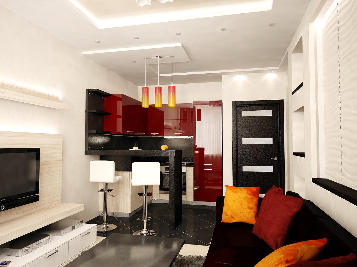 кухня-гостиная дизайн фото 12 кв.м