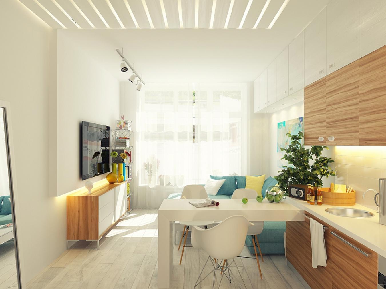 Комната студия с кухней дизайн 12 квадратов
