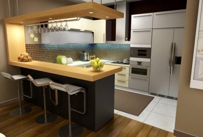 Кухня 15 кв.м дизайн с барной стойкой