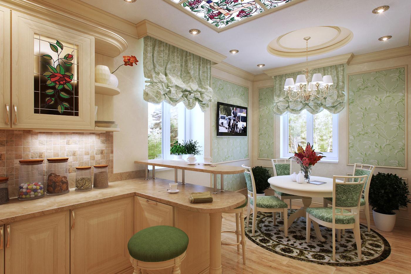 дизайн кухни-столовой-гостиной с барной стойкой в частном доме фото