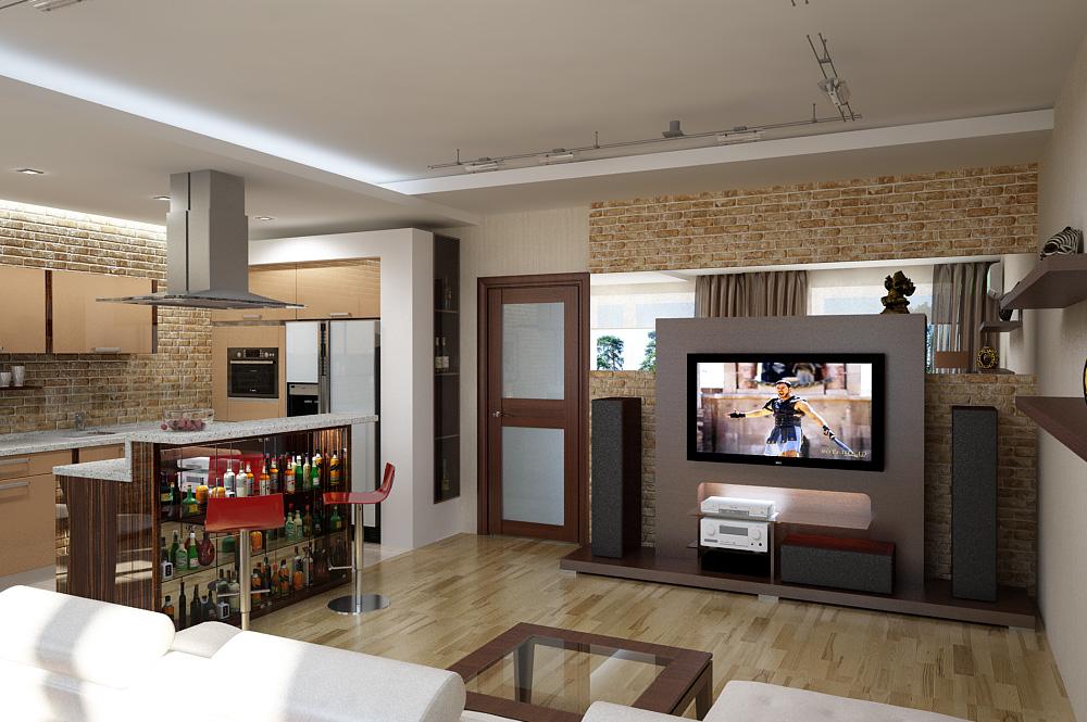 квартира студия дизайн фото кухня и зал