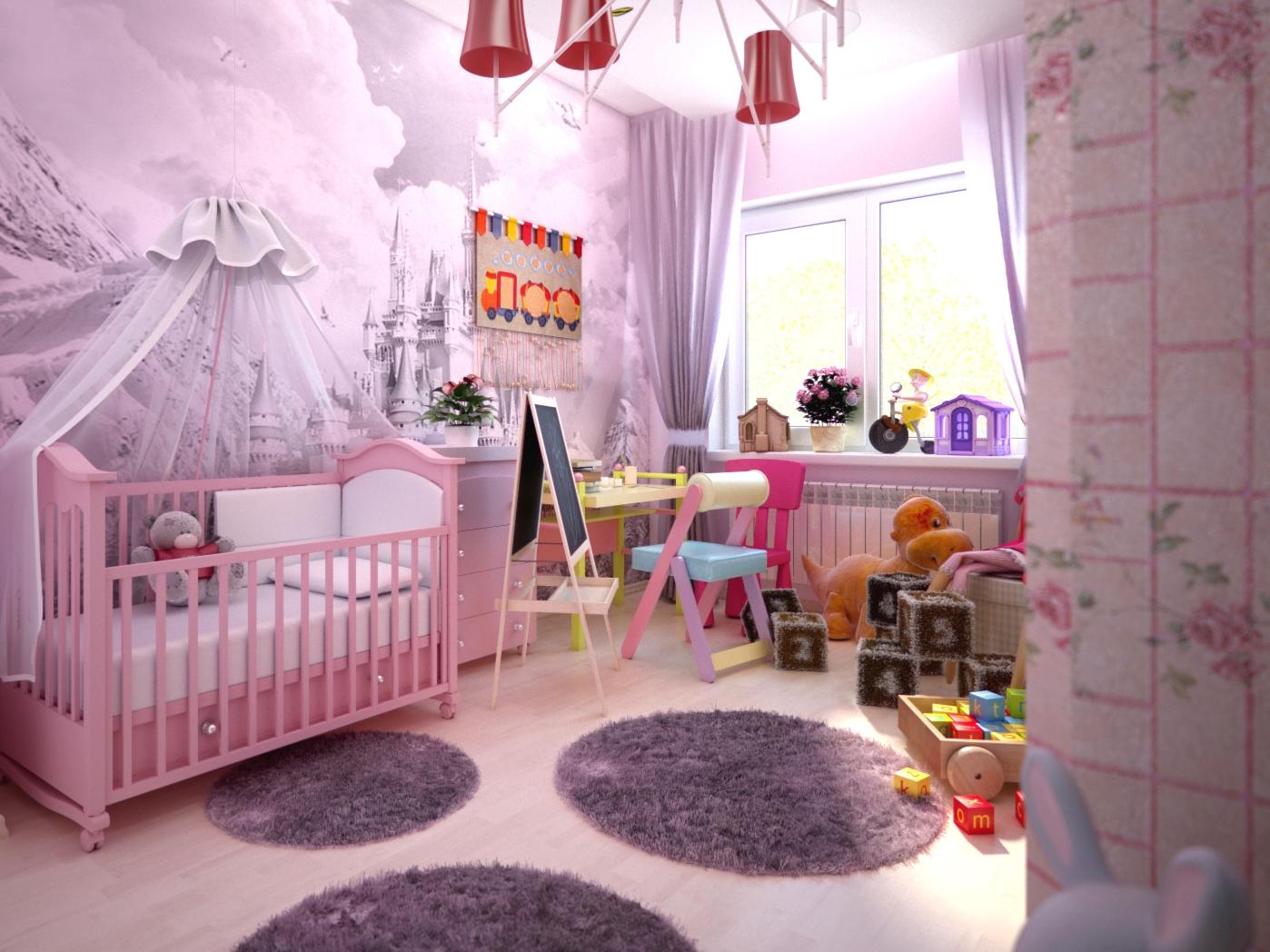 дизайн детской комнаты для девочки 2 годика