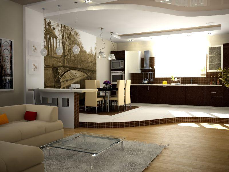 Интерьер гостиной столовой в частном доме фото