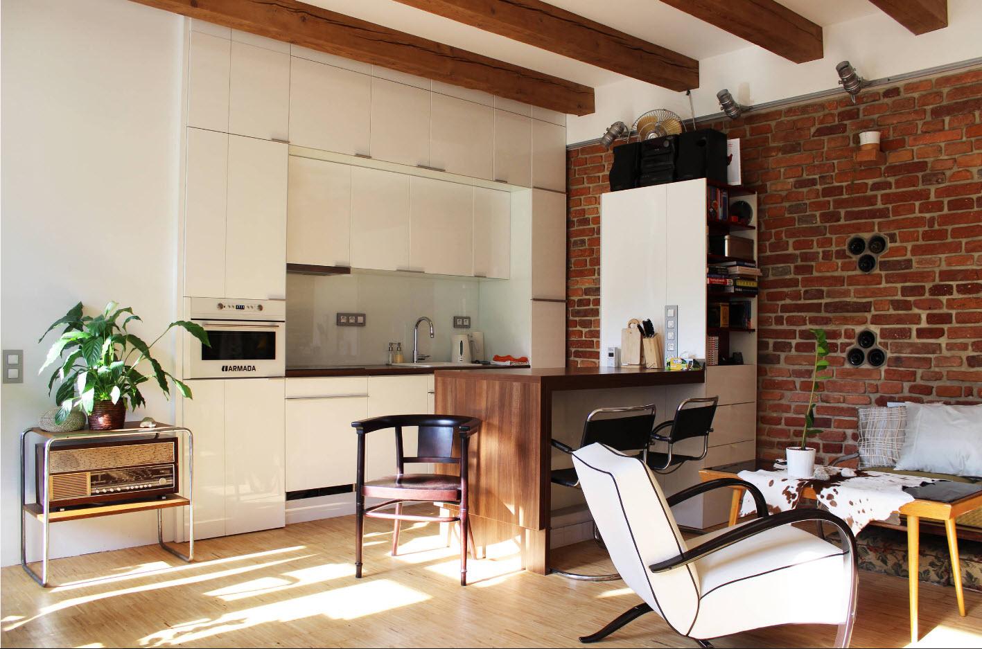 оформление стен в кухне гостиной кирпичом сравнению