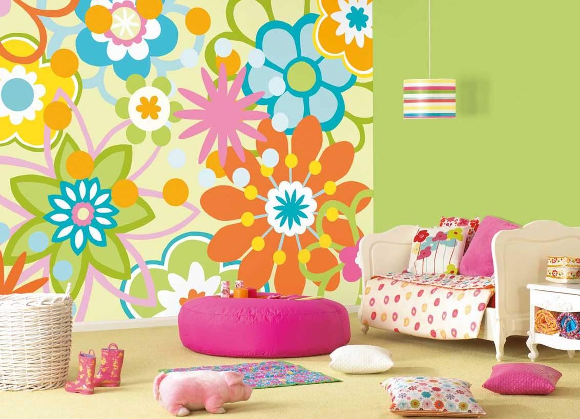 фото комбинированные обои в детской комнате