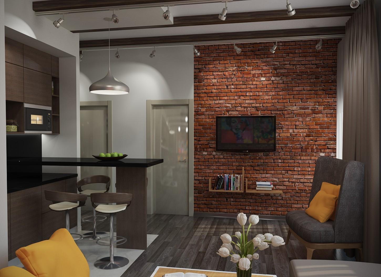 кухня гостиная в стиле лофт 48 фото дизайн интерьера совмещенного
