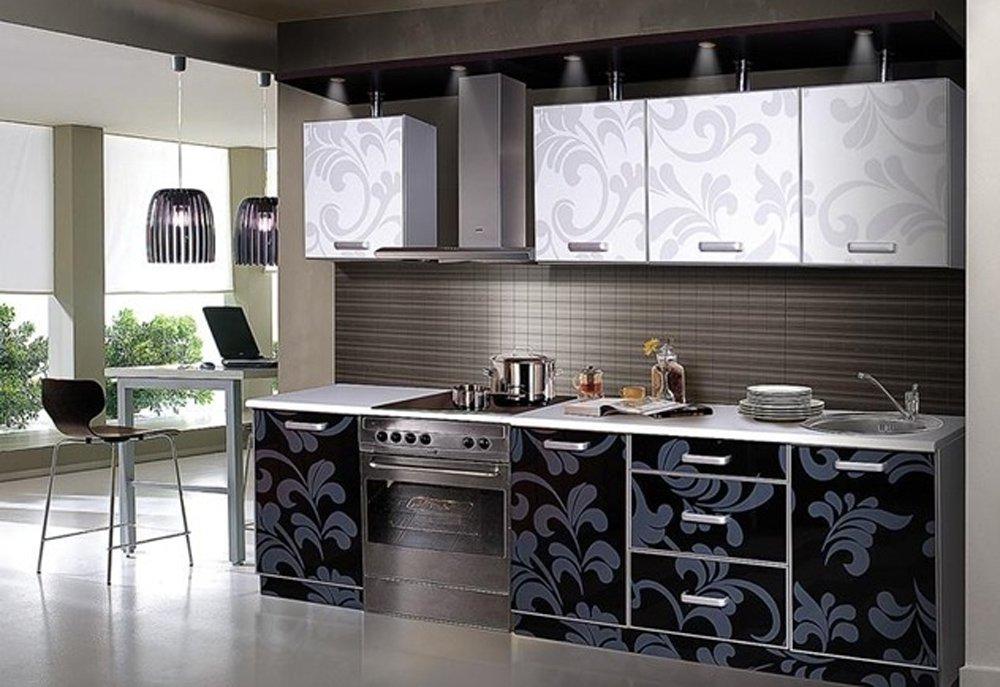 обои для черно белой кухни 43 фото дизайн в интерьере с гарнитуром