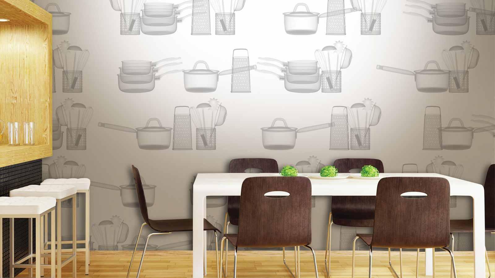 Идеи для поклейки обоев на кухню фото